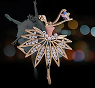 Rhinestone Brooch Alloy Lovely Dancer Girl Brooch