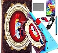 Coco Fun® patrón puño naranja caso de cuero de la PU con el cine y cable usb y el lápiz para i9600 Samsung Galaxy S5