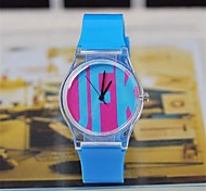 Women's   Magic Color Transparent Plastic Watch  Circular High Quality Japanese Watch Movement