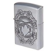 Pocket Heart-shape Design Zinc Alloy Oil Lighter(Silvery Grey)