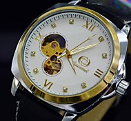 Herren-Automatikuhr Automatikwerk mechanische Armbanduhr Analog Diamanten Zifferblatt Lederband