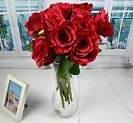 """European Style White Red Pink Artificial Open Rose 2 Pieces/Lot 15.75"""" Stem for Wedding Decoration"""