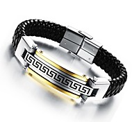 Men's Bracelet 24 K Greatwall Grain Leather Woven Titanium Steel Products Jewelry Christmas Gifts