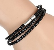 3 Laps Woven Leather Wrapped Leather Buckle Bracelet (Multicolor)