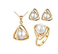 Europe and the United States to restore ancient ways the upscale pearl earring + necklace, ring three-piece (1 set)