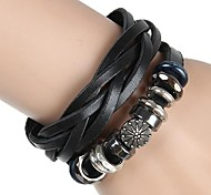 Non-Mainstream Punk Rock Beaded Hand-Woven Leather Bracelet (2 Colors)