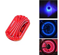 FJQXZ Red Waterproof Cycling Warning Tail Light and 2 PCS Blue Bike Spoke Light with1 Pair ABS Safety Valve Lamp Set