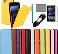 Coco fun® caso ultra-sólido e genuíno couro de aleta com filme e cabo USB e caneta para sony z1 mini (cores sortidas)