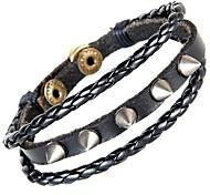 europäischen und amerikanischen Punk-Spitzen-Niet 3 Spaltleder-Armband (2 Farben)