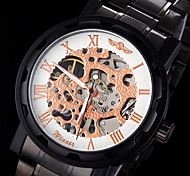 Men's Manual Mechanical Hollow Skeleton Rose Gold Face Black Steel Band Wrist Watch (Assorted Colors)