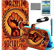 Coco Fun® patrón puño naranja caso de cuero de la PU con el cine y la aguja para el Samsung Galaxy i9080 / i9082 grandes