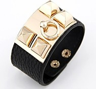 Punk Style Alloy Leather Thick Bracelets (Red, Black)