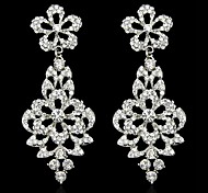 1 Pair Lady Fashion Crystal Rhinestone Design Charm Dangle Eardrop Stud Earring 2.8*7.9CM