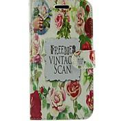 schöne Rose Blume PU-Leder Ganzkörper-Brieftasche Schutzhülle mit Ständer für Samsung Galaxy S i9070 Voraus