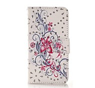 Fashion Rhinestone Painted Flower PU Full Body Case for Huawei P7