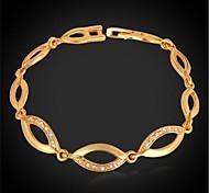 U7® Rhinestone Salix Leaves Link Bracelet 18K Real Gold Plated Chain Bracelet Fashion Jewelry