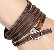European And American Retro Matte Leather Wrapped Leather Bracelet 5 Laps (Two Colors)