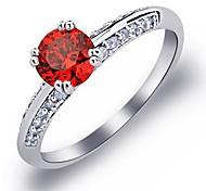 dos filas de óxido de circonio cúbico anillos de boda de piedra de las mujeres de lujo
