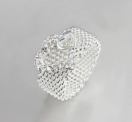 2016 Fashion Luxury Mesh Double Heart Sterling Silver Band Ring For Women