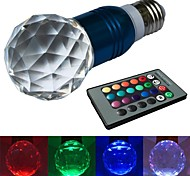 Globe Bulbs , E26/E27 3 W 1 High Power LED LM RGB V