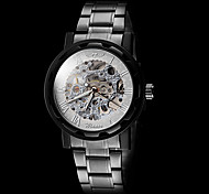 WINNER® Men's Manual Mechanical Hollow Skeleton Silver Face Black Steel Band Wrist Watch (Assorted Colors) Cool Watch Unique Watch