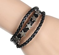 European And American Fashion Star Rivets Leather Bracelet 3 Layers (Two Colors)