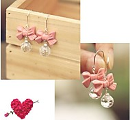 Sweet Lovely Pink Bow Crystal Earrings