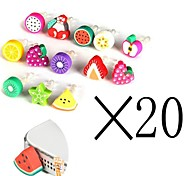 [20-PCS]Fruit 3.5 MM Polymer Clay Anti-dust Earphone Jack for iPhone and iPad(Random Color)