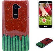 Watermelon Pattern TPU Soft Case with Screen Protector Film For LG G2
