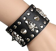 European And American Punk Skull rivet Leather Wrist Bracelet (Multicolor)