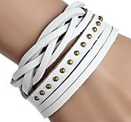 Braided Leather Bracelet Rivets Plus Two Laps (Multicolor)