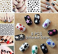 8PCS Mix Color Star Nail Art Stick (Random Patterns)