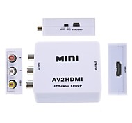Composite AV CVBS 3RCA to HDMI Video Converter Mini Adapter 720p 1080p Upscaler