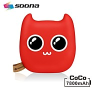 SOONA 7800mAh Power Bank External Battery Li-ion Multi-Output for iPhone 6/6S/Galaxy S5 I9600 and other mobile devices