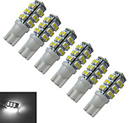 T10 Luces Decorativas 25 SMD 3528 100lm lm Blanco Fresco DC 12 V 6 piezas