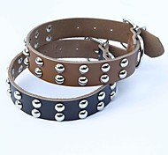 Black/Brown Retractable/Cosplay Genuine Leather/Metal Collars For Dogs