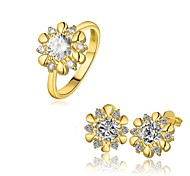 Gold Plated Fashion Jewelry Sets Earrings Ring