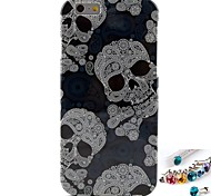 Hemming Skull Pattern TPU  Back Cover Case and Dust Plug for iPhone 6/6S