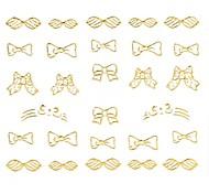 1PC 3D Nail Art Stickers Nail Wraps Nail Decals Gold Bowknot French Tips Nail Polish Decorations