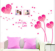 Environmental Removable Pink Loving Heart Pattern PVC Wall Sticker