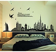 Birds High-Rise City Wall Stickers in the Background