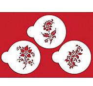 FOUR-C Coffee Stencils Flower Stencils Color White,3PCS/Set ST-315