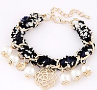 Fabric Woven Fashion Wild Temperament Roses Pearl Bracelet