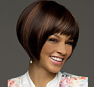 mulheres médio marrom senhora reta perucas de cabelo curto sintéticos