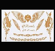1PC Gold Tattoos Initial Wings Feather Temporary Tattoos Flash Tattoos Metallic Tattoos Wedding Party Tattoos(20*10cm)