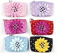 Cute Textile Sunflower Zero Wallet(Random Color)