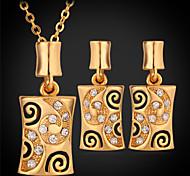 u7® platino 18K oro verdadero sistemas de la joyería pendientes plateados colgante gargantilla collar de diamantes de imitación de las mujeres