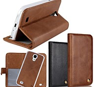 2 In 1 Top Quality Genuine Leather Wallet Case with Stand Cover for Samsung Galaxy S4 (Assorted Colors)