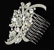 Flashion Wedding Party Bride Flower Austria Crystal Silver Combs Hair Accessories