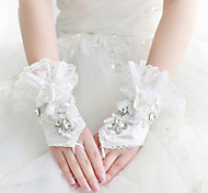 Satin/Lace Wrist Length Wedding/Party Glove